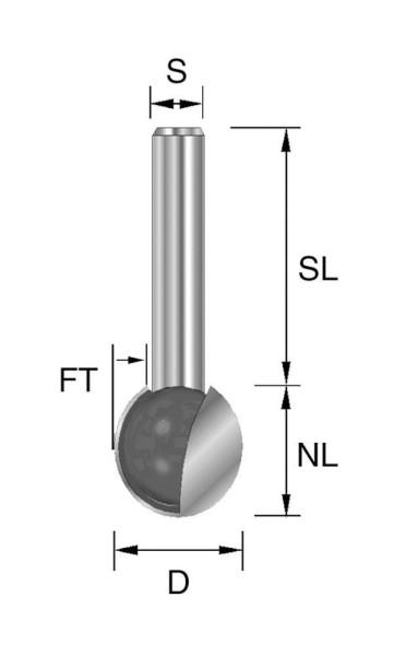 Brück HW-Kugelfräser Typ 243 Z2 D= 19,05 mm, NL=18,2 mm S= 8 x 32 mm FT= 9,5 mm