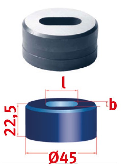 Metallkraft Langlochmatrize für Mubea Lochstanzen Langlochmatrize Nr.45  12.3 x 25.3 mm