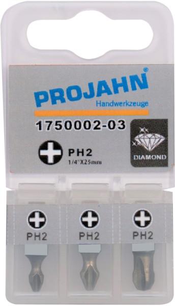 "Projahn 1/4"" Bit Diamantbeschichtet L25mm Phillips Nr 1 3er Pack"
