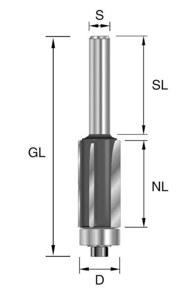 Brück HW-Bündigfräser D12,7, NL38,1 GL92,5