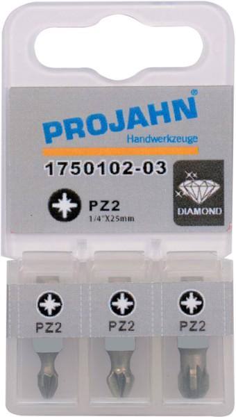 """Projahn 1/4"""" Bit Diamantbeschichtet L25mm Pozidrive Nr 2 3er Pack"""