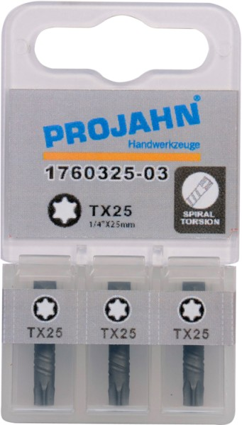 "Projahn 1/4"" Torsion-Bit  L25 mm TX10 3er Pack"
