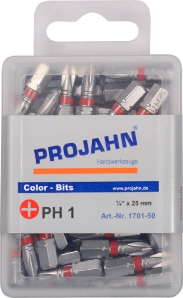 """Projahn 1/4"""" markierter Bit L25 mm Phillips Nr 2 50er Pack"""