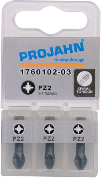 "Projahn 1/4"" Torsion-Bit ACR2 L50 mm Pozidrive Nr 1 3er Pack"