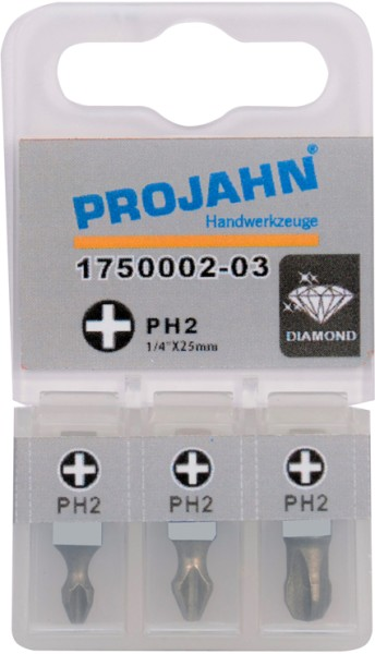 "Projahn 1/4"" Bit Diamantbeschichtet L25mm Phillips Nr 2 3er Pack"