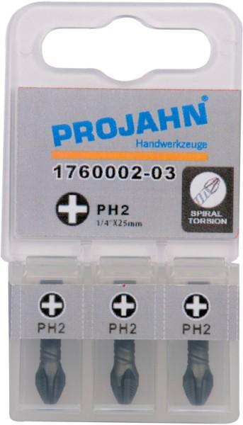 """Projahn 1/4"""" Torsion-Bit ACR2 L25 mm Phillips Nr 2 3er Pack"""