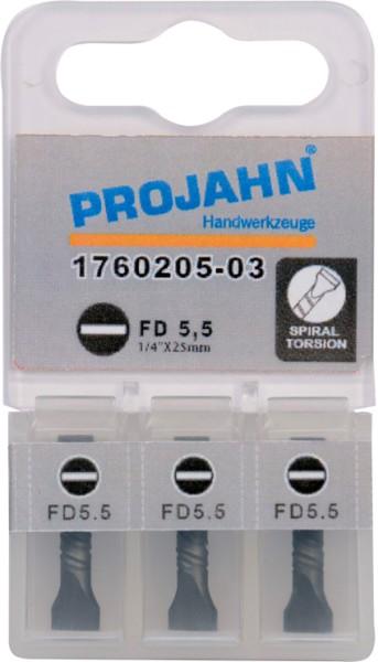 "Projahn 1/4"" Torsion-Bit  L50 mm Schlitz 1,0x5,5 3er Pack"
