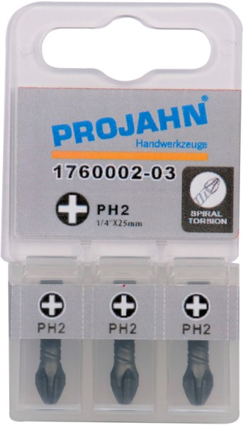 """Projahn 1/4"""" Torsion-Bit ACR2 L50 mm Phillips Nr 2 3er Pack"""