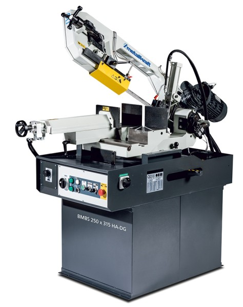 Metallkraft Vollhydraulische Schwenkrahmen-Metallbandsäge mit Halbautomatik für Gehrungsschnitte von +60° bis -45° BMBS 250 x 315 HA-DG