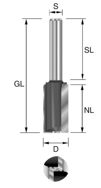 Brück HW-Nutfräser m. Grundschneide Z2 D= 4 mm, NL=12 mm, GL= 50 mm S= 8 x 32 mm