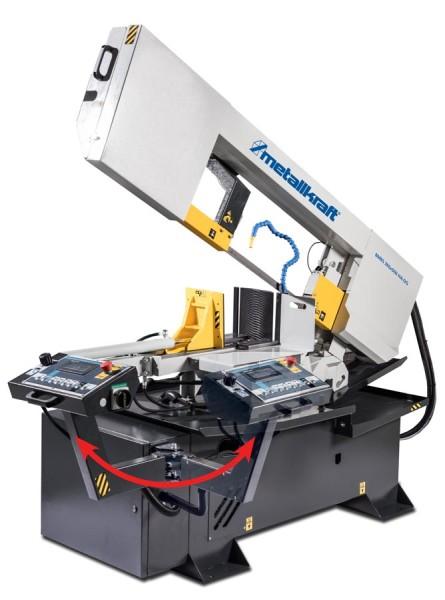 Metallkraft Halbautomatische Schwenkrahmen-Metallbandsäge für Gehrungsschnitte von +60° bis -60° mit Frequenzumrichter BMBS 360 x 500 HA-DG