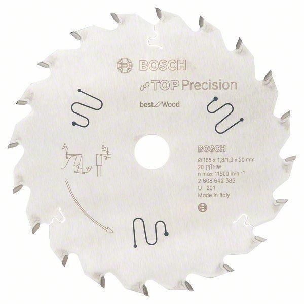 BOSCH Kreissägeblatt Top Precision for Wood 165 x 20 x 1,8 mm, 20WZ