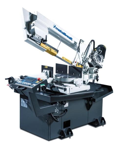 Metallkraft Halbautomatische Schwenkrahmen-Metallbandsäge für Gehrungungsschnitte von +60° bis -45° mit Frequenzumrichter BMBS 300 x 320 HA-DG