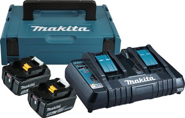 Makita Power Source Kit Li 18,0V 5Ah inkl. Doppelladegerät & 2 Akkus